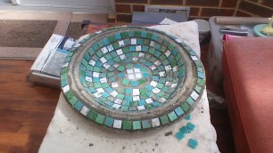 Moscaic bird bath - in progress